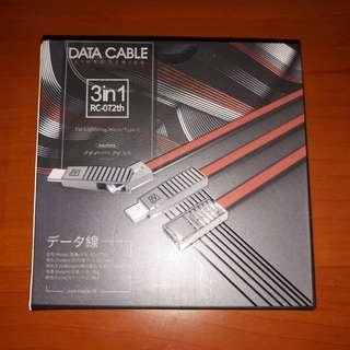 Remax RC 072th Linyo 3-in-1 Data Cable (Red)