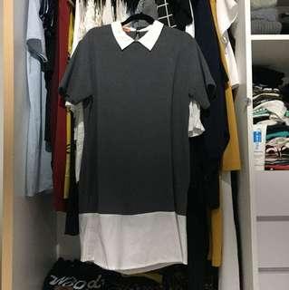 Tresa: colorblock grey dress