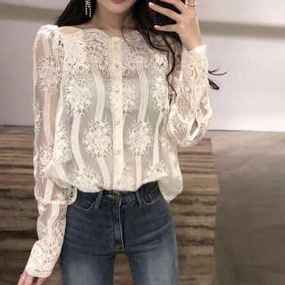 2018 Korean ulzzang spring collar lace shoulder shirt bottoming shirt super fairy mesh shirt