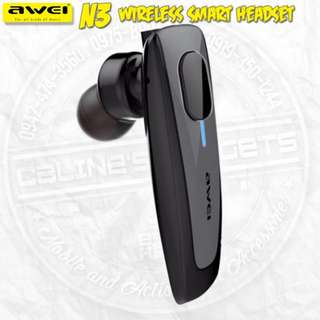 Awei N3 Wireless Smart Mono Headset Ergonomic In-ear Bluetooth Earphone