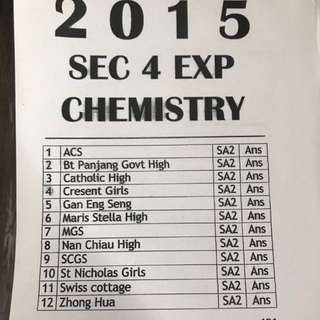 2015 CHEMISTRY EXAM PAPERS