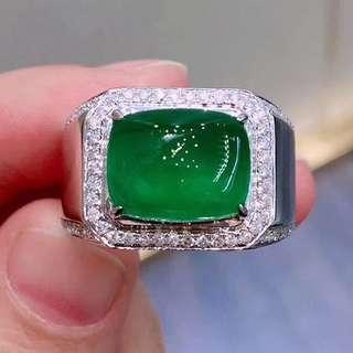 18K白金 祖母綠鑽石戒指 男戒