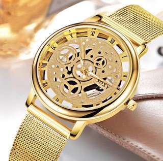 Women watch fashion gold color design luxury