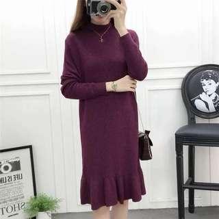 Turtle neck wool winter dress