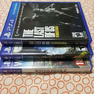 PS4 Horizon Zero Dawn / Watch Dogs 2 / The Last of Us Remastered Games