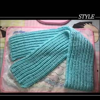 mini自家製手織頸巾(薄荷綠)