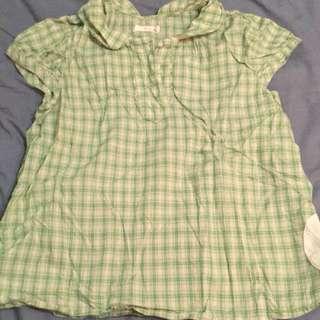 專櫃品牌a la sha 淺綠格紋包釦公主袖短袖襯衫