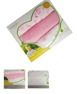 Retail $39.95! Simply Life 3 Pieces Bamboo Swaddles (Pink Color Suitable For Baby Girl)