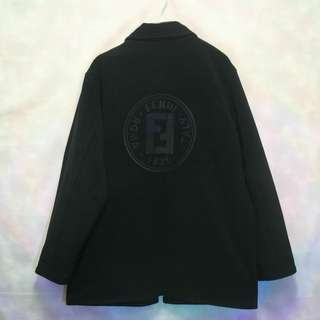 三件7折🎊 Fendi 毛料外套 夾克 雙面穿 黑 大電繡logo 滿版 極稀有 老品 義大利製 古著 Vintage