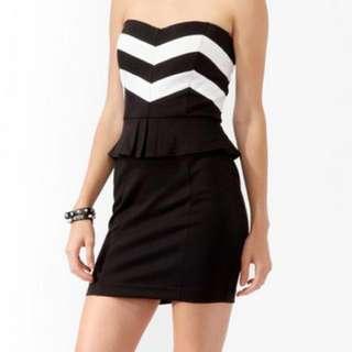 FOREVER21 Chevron Striped Peplum Dress