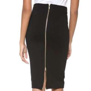 H&M Size 2 Gold Zip Pencil Skirt (XS)