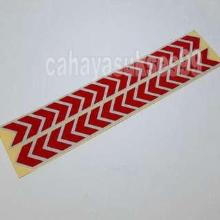 Sticker Cutting SAFETY SIGN ARROW MERAH LIST PUTIH 30cm Metalik RED Stiker Reflective PAKET PROMOSI Satu Set Sepasang