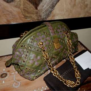 BOTTEGA veneta green-purple intrecciato bowling bag