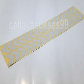Sticker Cutting SAFETY SIGN ARROW PUTIH KILAP 30cm Metalik White Stiker Reflective PAKET PROMOSI Satu Set Sepasang