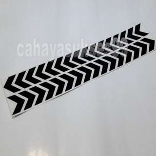 Sticker Cutting SAFETY SIGN ARROW HITAM KILAP 30cm Metalik BLACK Stiker Reflective PAKET PROMOSI Satu Set Sepasang