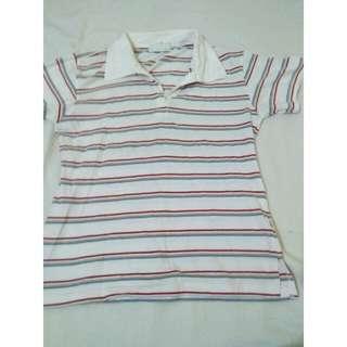 Striped polo blouse