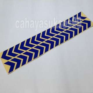 Sticker Cutting SAFETY SIGN ARROW BIRU 30cm Metalik Blue Stiker Reflective PAKET PROMOSI Satu Set Sepasang
