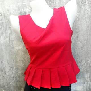 Plain Red Pleated Top