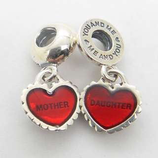Code S100, Two Pieces Mother And Daughter Heart Love 100% 925 Sterling Silver Charm, Chain Is Not Included, Compatible With Pandora