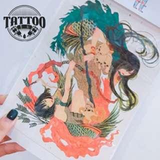 雙人貼紙紋身貼紙男女款印水紙帥氣紋身各種貼紙高端刺青貼紙逼真效果紋身貼滿100包平郵