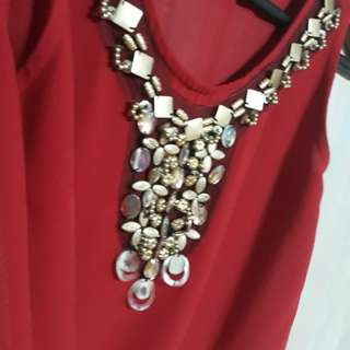 Red Chiffon Sleeveless Blouse