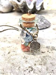 Chakra in vial (genuine chipstones) necklace