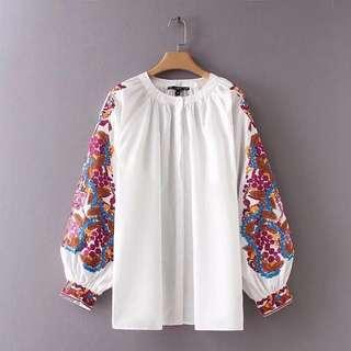 🔥Europe Loose Long Sleeve Embroi Pattern Blouse Shirt