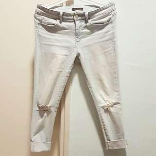 Light Blue Ripped Denim Jeans - Uniqlo