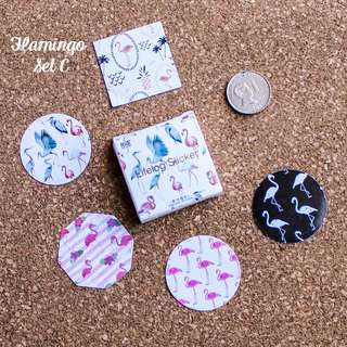 5pcs Flamingo Sticker Sample Set C