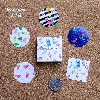 5pcs Flamingo Sticker Sample Set B