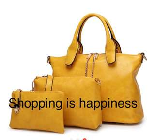 3 pcs handbag with sling strap sling bag and pouch