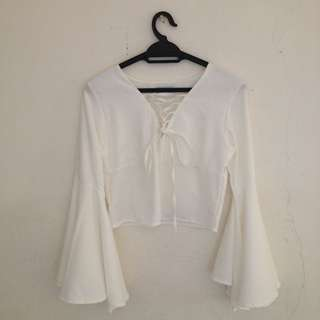 [RS] Lace-up Fluted Sleeve Top