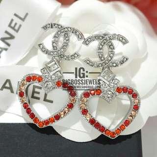 Silver Red Heart Dangling Earrings