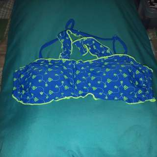 REPRICED! Blue and Neon Green Bandeau Bikini Top