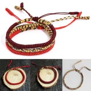 Handmade Lucky MultiColor Tibetan Charm Rope Bracelet
