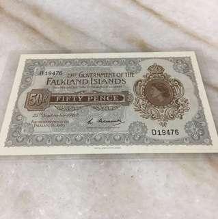 Falkland lslands fifty pence UNC