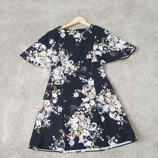Forever New Floral Cape Dress