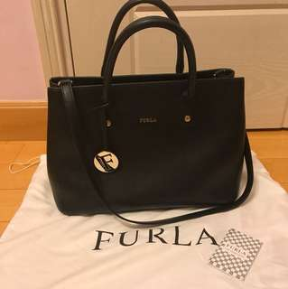 Furla Linda Tote Onyx (Black Leather)