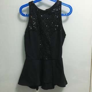 Bebe Sequin Peplum Top