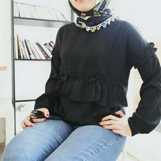 (PluffyProject) Flawly Blouse Black Hitam