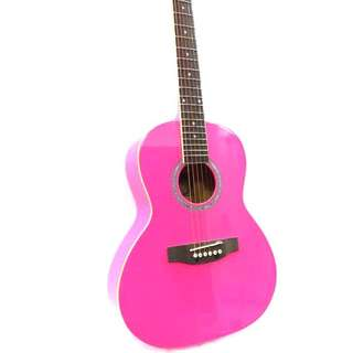 "Girl's favourite Neon Pink Guitar! Teenager's 36"" Acoustic Guitar at only $89."