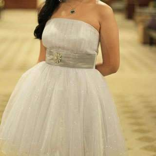 Silver Poofy Prom Dress