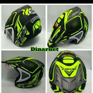 Helmet motorcross scrambler double visor yellow stabilo