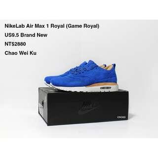 NikeLab Air Max 1 Royal (Game Royal) US9.5 Brand New