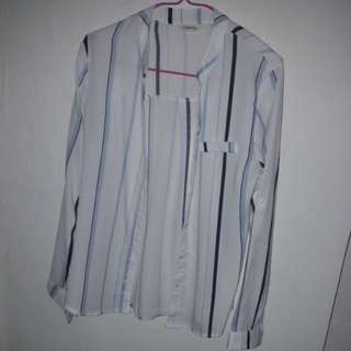 OFFER! White Blue Striped Long-sleeve Casual Button Top