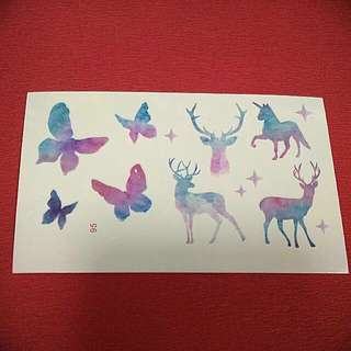 Unicorn Butterfly Deer Temporary Tattoo