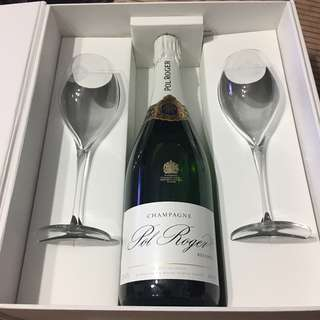 Luxury Gift Box! Pol Roger Brut Reserve NV Champagne with 2 branded flutes!