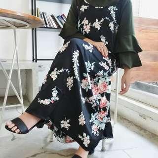 (PluffyProject) Dress Mengkilap Bunga Flower Hitam Lucu