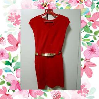 Red office lady dress