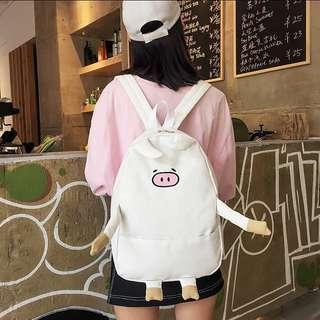 <P.O> Cute Korean Ulzzang Piggie Canvas Backpack Bag